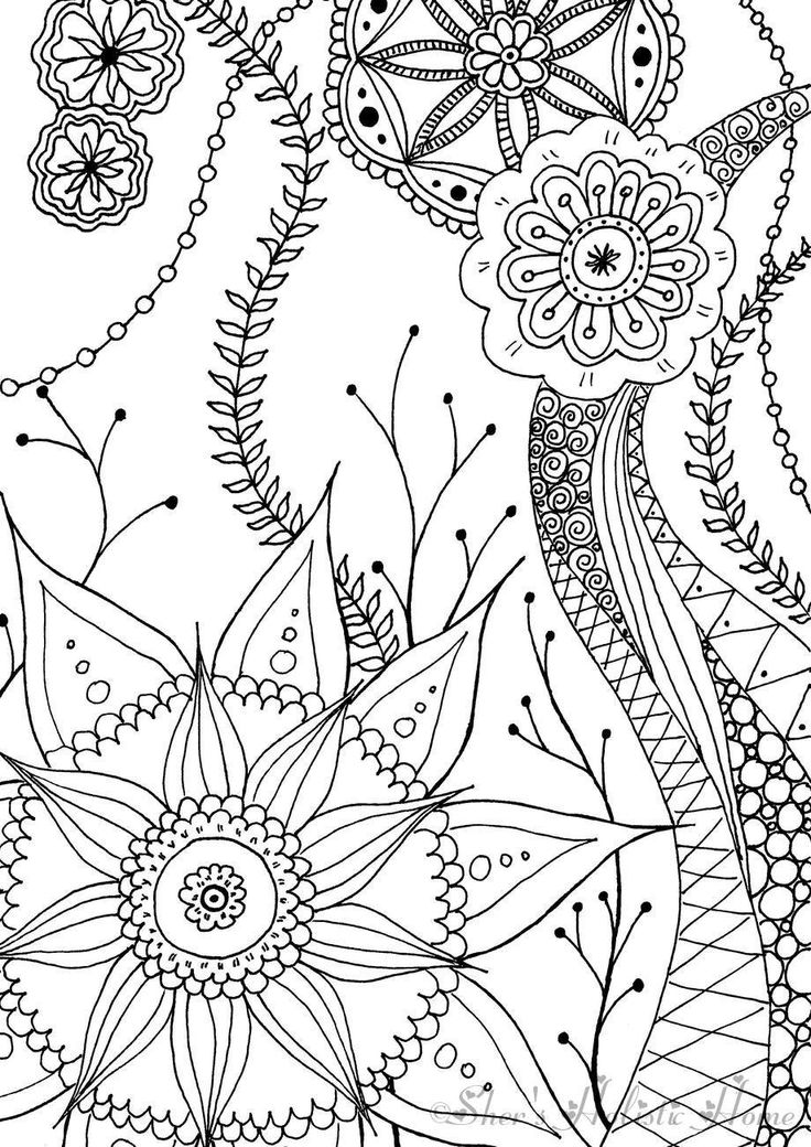 A simple colouring page for beginners...check out my Etsy shop.