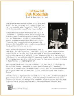 Hey Kids, Meet Piet Mondrian | Printable Biography - http://makingartfun.com/htm/f-maf-printit/piet-mondrian-print-it-biography.htm