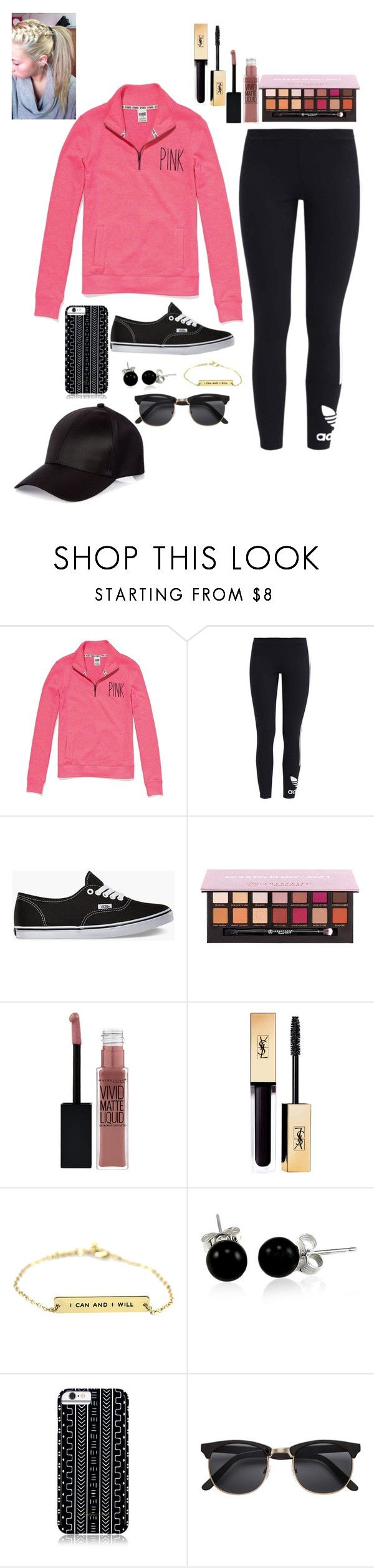 """""""<3"""" by emilyxcourtney ❤ liked on Polyvore featuring Victoria's Secret, adidas Originals, Vans, Anastasia Beverly Hills, Maybelline, Bling Jewelry, Savannah Hayes, H&M and River Island"""