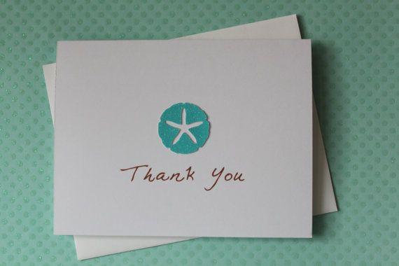 Handmade Thank You Wedding Gifts : Handmade Thank You Beach Wedding Gift Card Set of 10 Glitter Azure ...