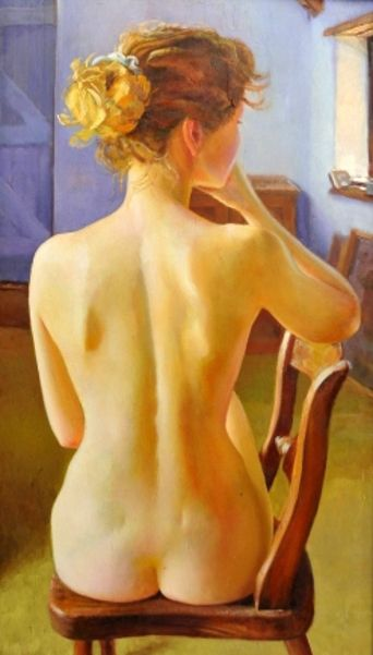 Nude Woman On Wooden Chair