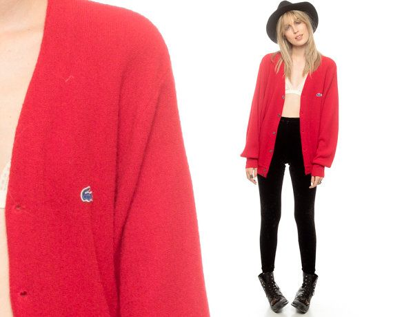 LACOSTE Cardigan Sweater 80s RED Button Up IZOD by ShopExile