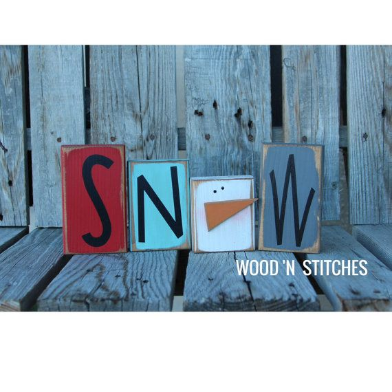 Winter snowman wood block set seasonal Christmas decor gift snowman collector personalized sign on Etsy, $16.95
