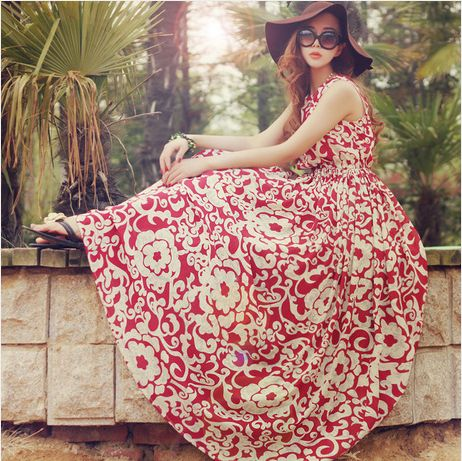 New 2014 Bohemian Chiffon Beach Long Maxi Dress Slim Plus Size Novelty Dresses S XL,Vestido Casual Dress Women's Clothing-in Dresses from Apparel & Accessories on Aliexpress.com | Alibaba Group