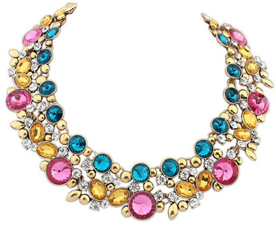 Korean accessories Europe luxury fashion luxury boutique gem Flash drills best selling crystal vintage collar necklace 985
