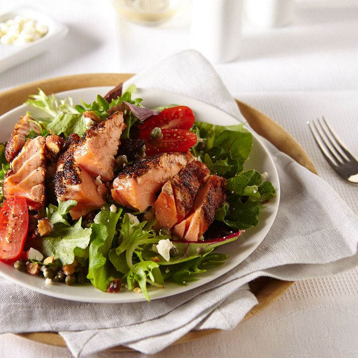 Fresh Salmon salad is perfect for a light dinner. Use Adams Reserve Blackened Rojo Rub to expertly season your fillet. #HEBrecipe