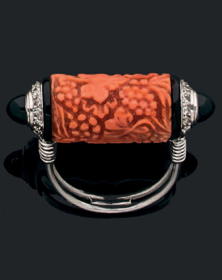 Cartier-Art Deco coral, onyx and diamond ring
