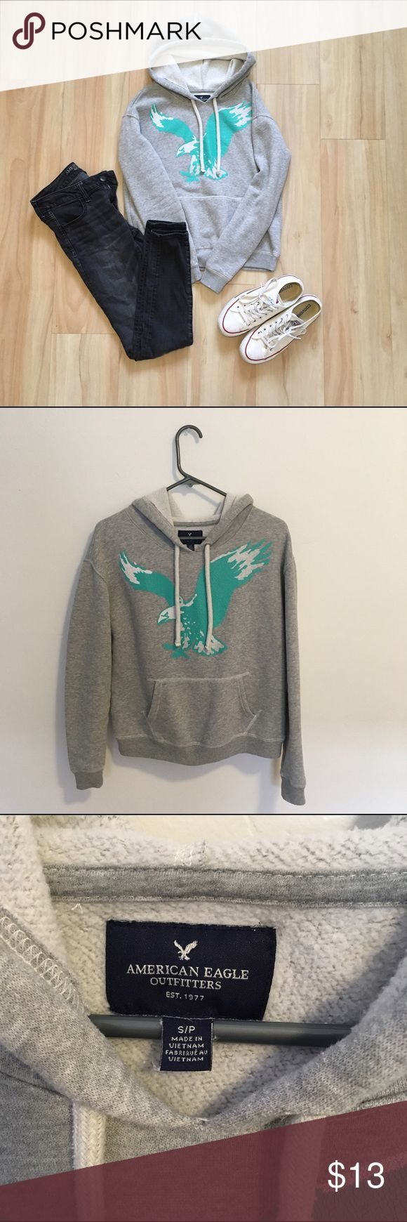 American Eagle Sweatshirt American Eagle sweatshirt  -gently used but still in great condition  -60% cotton, 40% polyester -graphic has minor cracks *pants and converse not included* American Eagle Outfitters Tops Sweatshirts & Hoodies