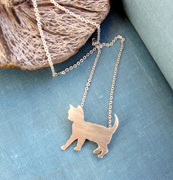 Sterling silver cat necklace Animal pet jewelry by lunahoo on Etsy
