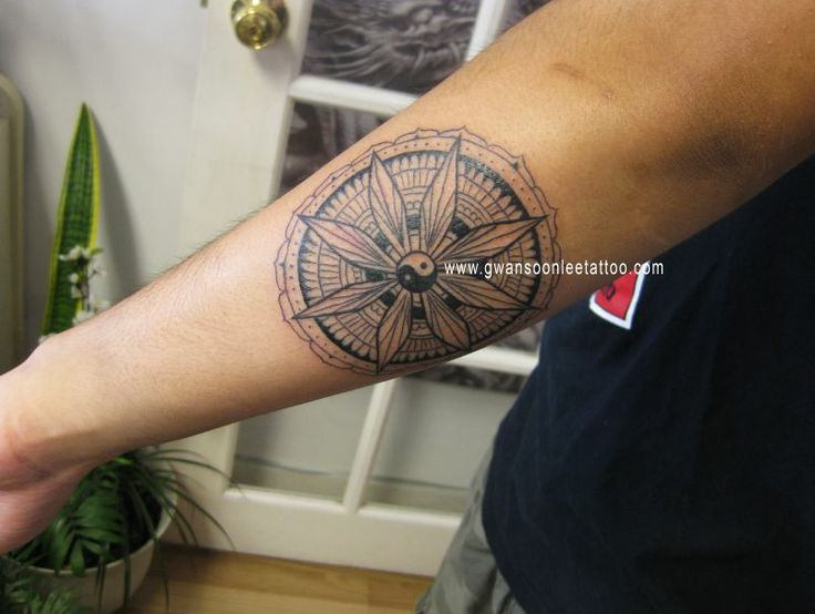 Buddhist symbol tattoo on arm