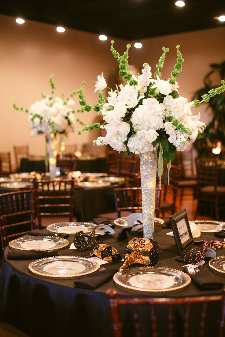 Tall hydrangea centerpieces with glowing led lights in for Center arrangements for weddings