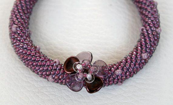 Armband Herz mit Perlen japanischen TOHO häkeln von Mulinka auf Etsy