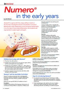 NUMERO IN THE EARLY YEARS. AUSTRALIAN CURRICULUM MATHEMATICS. FREE DOWNLOAD. ACMNA: Acara links.