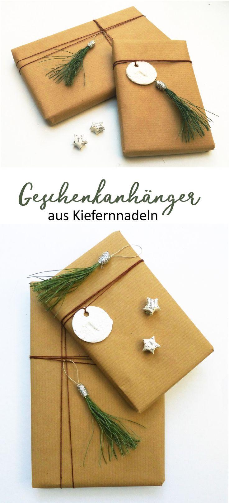 DIY Geschenkanhänger aus Nadeln. Natürliche Deko aus dem Wald, Tannenduft inklusive.   #Geschenkanhänger