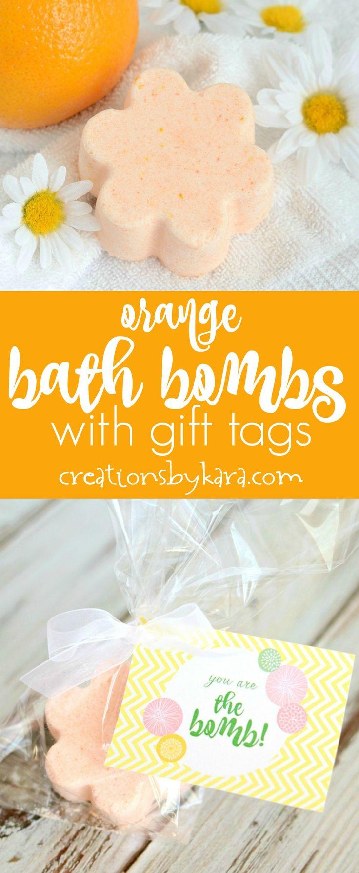 Orange Bath Bombs with free printable gift tags - homemade bath bombs make great gifts!