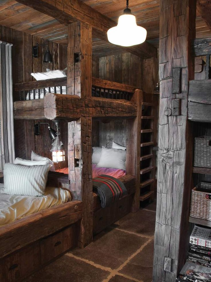 Love The Old Wood Rustic Cabin Design Wooden Bunk