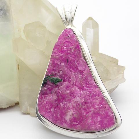 Cobaltoan cobalto calcite raw crystal pendant sterling silver