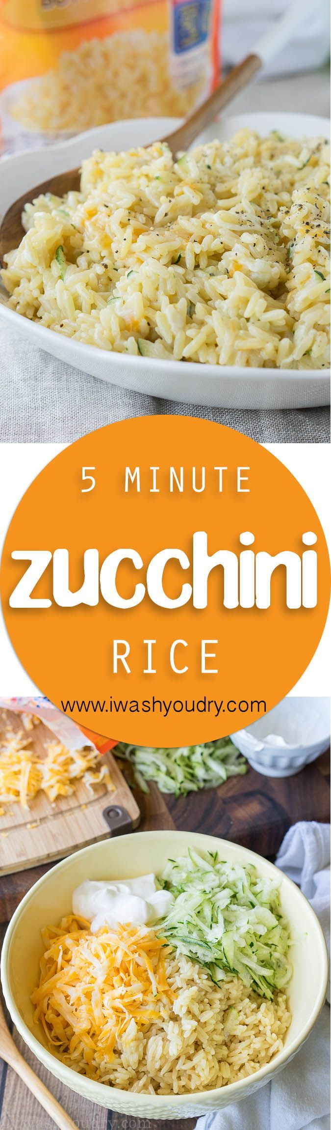 I love making this 5 minute Cheesy Zucchini Rice recipe for a quick and easy side dish! Even my kids get in there and help too! #ad