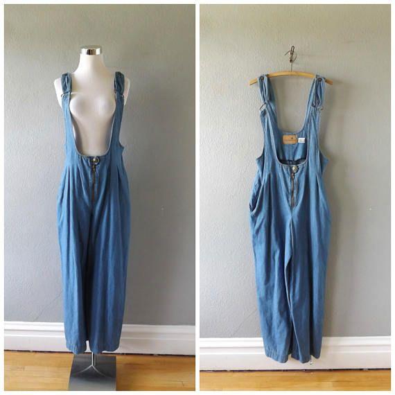minimal denim overalls romper | vintage 80s cotton blue jean chambray suspender pants size 12 m/medium hipster boho low cut dress pant 1980s