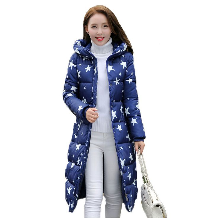 2016 Fashion Winter Cotton Padded Jacket Women Slim Thick Stars Print Female Coat Parka Warm Winter Long Jackets Ladies Overcoat