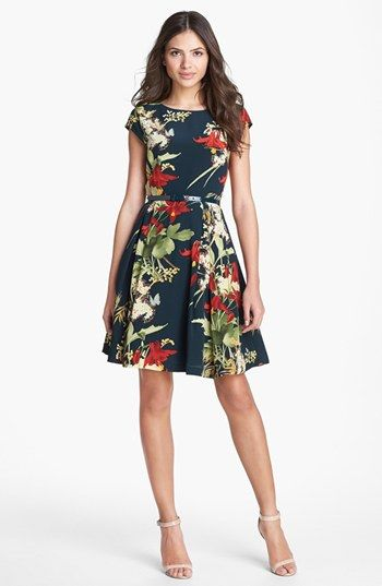 Ted Baker London 'Fortys Bloom' Print Silk A-line Dress available at #Nordstrom