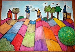 Perspectief in oil pastel....I've never seen a perspective lesson done this way...cool!