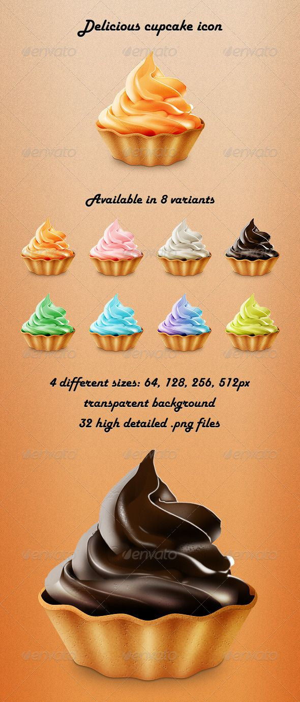 Delicious Cupcake Icon — Photoshop PSD #cupcake #tasty • Available here → https://graphicriver.net/item/delicious-cupcake-icon/3125158?ref=pxcr