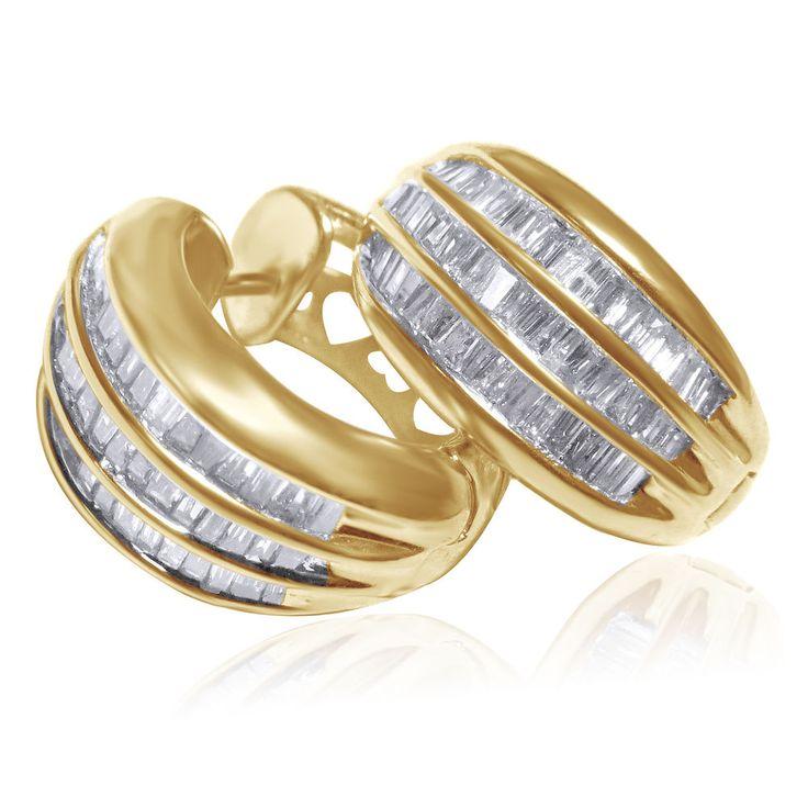 Estate 14K Yellow Gold Baguette Cut Diamond Huggie Earrings 1.05 Cts $5000 #affinitygold #WithDiamonds
