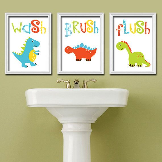Dinosaur Bathroom Wall Art Canvas Or Prints Dino Bath Wash Brush Flush Set Of 3 Decor Kid Children Bath Pictures