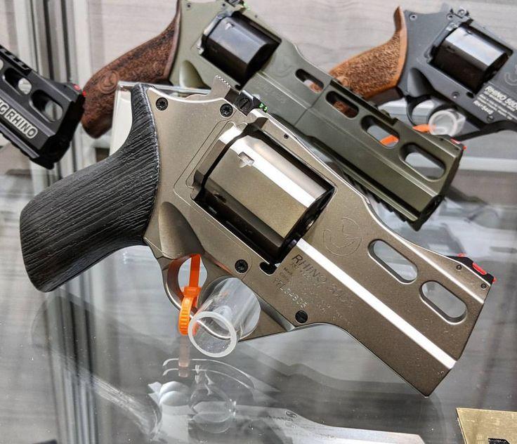"Unveiled at SHOT Show 2018: 3"" Rhino in Chrome & Black. #chiapparhino #chiappa #revolver #badass #pistols #guns"