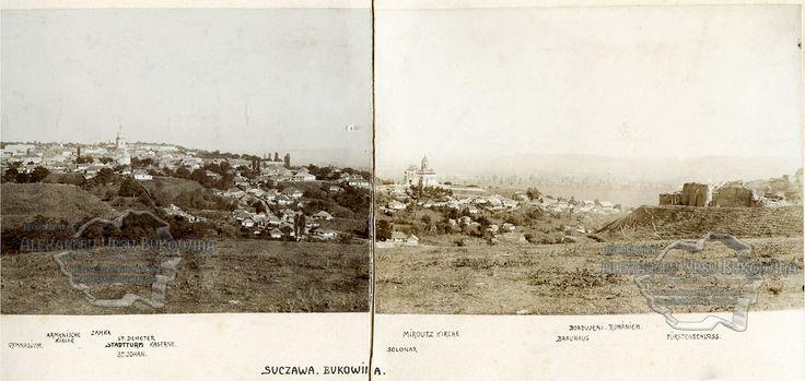 Suceava. 1870. Vedere generală. Panorama. Oraş moldovenesc, Bucovina.