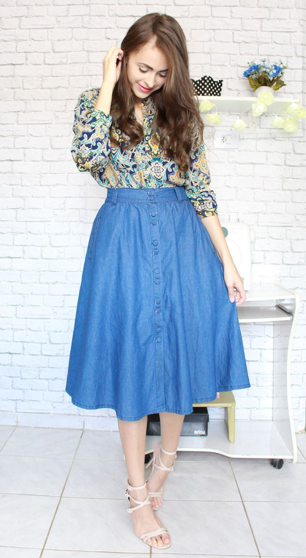 #skirt #saia #godê #botão #amiclubwear #Zaful #camisa #feminina #blog #anakarla #blogueira #moda #modaevangelica #evangelica #rodada #nude #sandália  Blog> http://www.byanak.com.br/2016/09/saia-midi-jeans-e-aneis-zaful.html