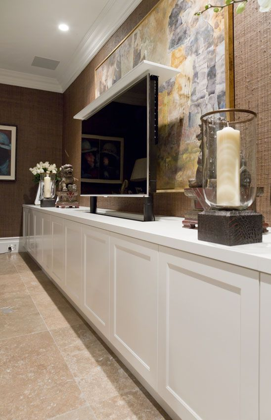 17 best ideas about tv wall cabinets on pinterest - Retractable tv cabinet living room furniture ...