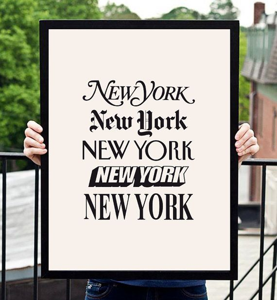 "New York Typographic Wall Art Decor New York by TheMotivatedType, $12.00 (11"" x 14"")"