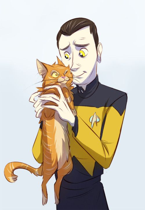 data and spot by kirrys #startrek #tng #fanart