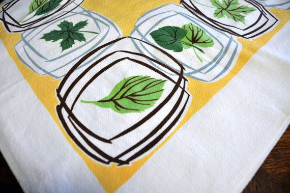 Vintage Midcentury Tablecloth Buttercup Yellow by SNAPPEDinPLACE