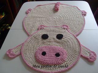 Meu jardim de crochê: Tapete porquinha em crochê