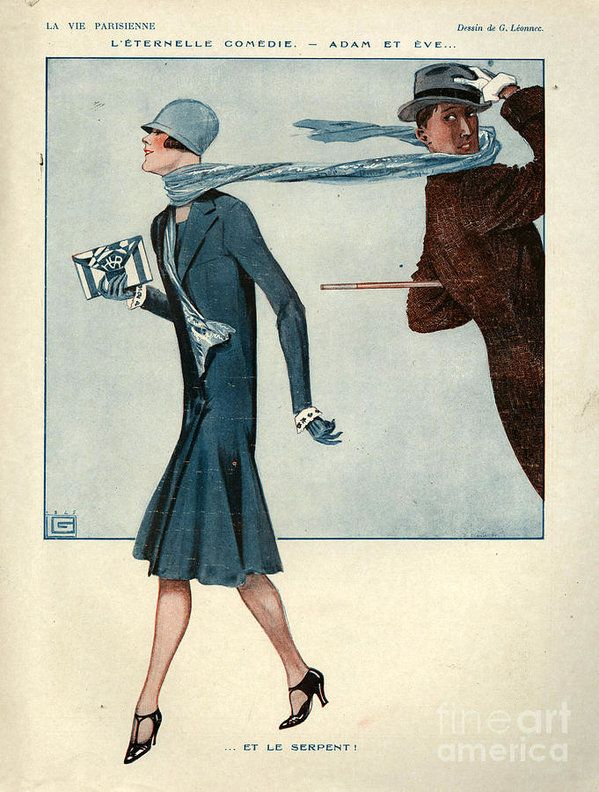 France Art Print featuring the drawing 1920s France La Vie Parisienne Magazine by The Advertising Archives