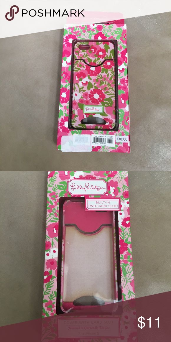 Used Lilly Pulitzer IPhone 5 case iPhone 5 case with 2 card slot. Used- shows signs of wear. Comes in original box Lilly Pulitzer Accessories Phone Cases
