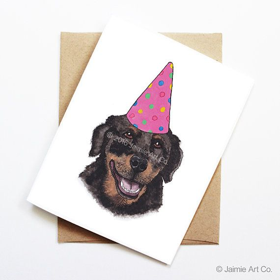 Birthday Card  Rottweiler Dog Birthday Card Cute by JaimieArtCo