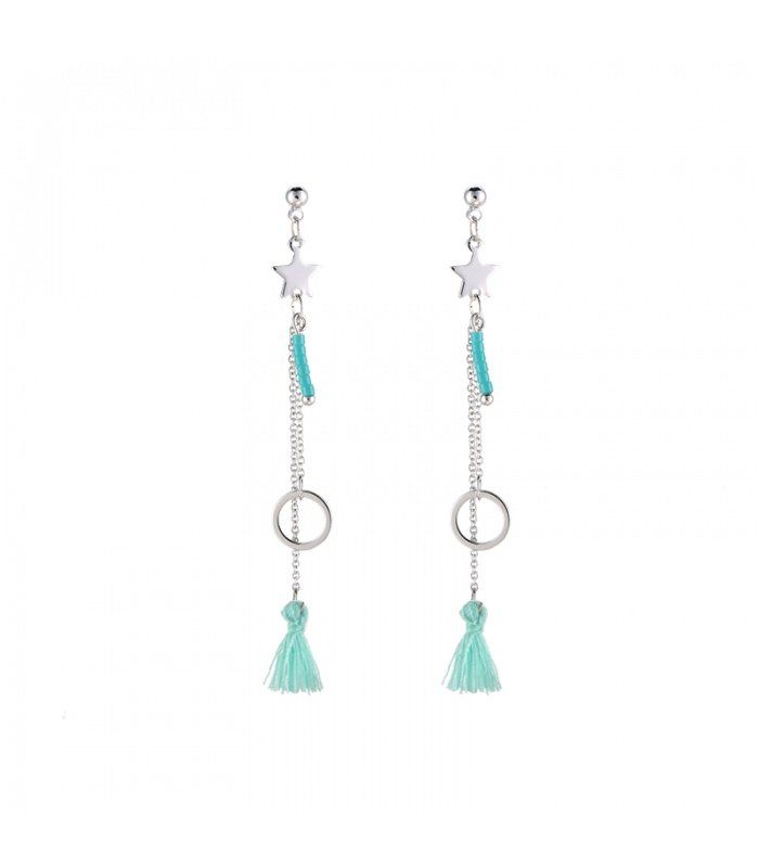 Groene oorbellen met ster en kwast| Mooie oorbellen koop je online | Yehwang fashion en sieraden