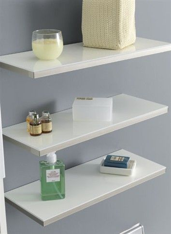 Shelf for holding objects in glossy white bi-laminated melamine with Glass Effect ABS edging, complete with concealed shelf support.  Over...