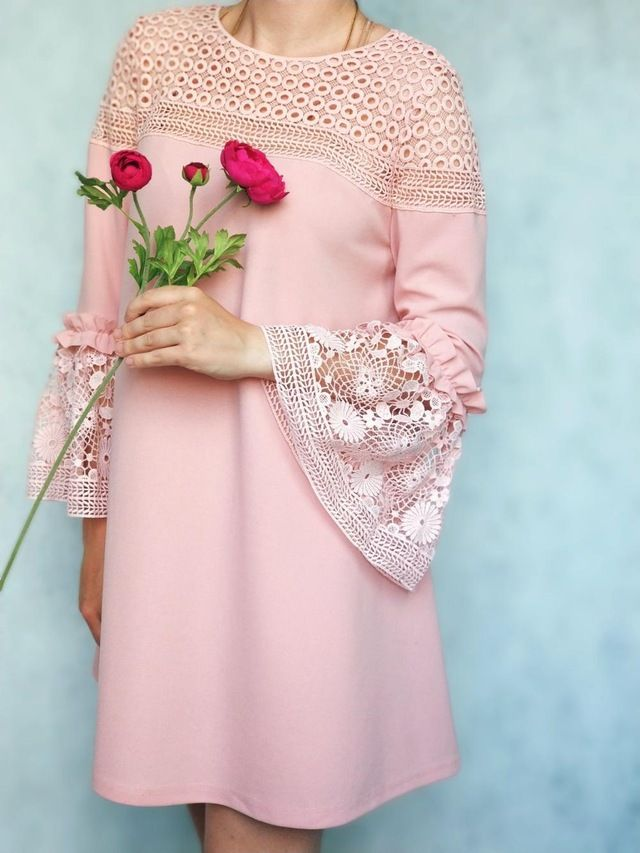 edebdfdb5a60  SHEIN  Eyelet  Crochet  Lace  Detail  Frill  Trim  Dress  2018  Summer   Round  Neck  Butterfly  Sleeve  Dress  Women  Pink  Elegant  Ruffle  Dress