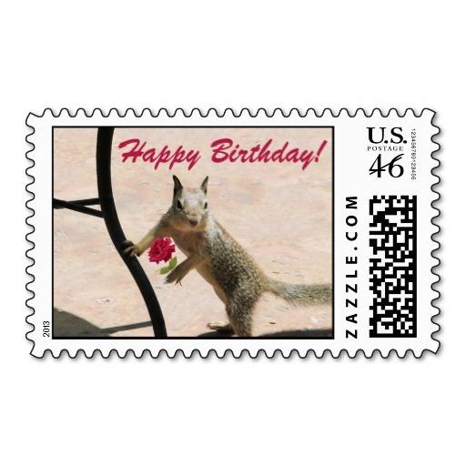 Cute Squirrel Birthday Postage Stamp Squirrels Cards