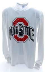 Ohio State Buckeyes Long Sleeve Shirt White Vintage Athletic Logo  www.CampusApparelStore.com