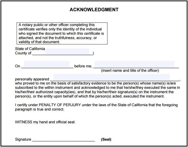 California Notary Acknowledgment - Notary Public Forms - notary template
