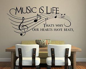 """Amazon.com - Music Is Life.. That's Why Our Hearts Have Beats Vinyl Wall Decal Sticker Art 23"""" X 10"""" - Wall Decor Stickers"""