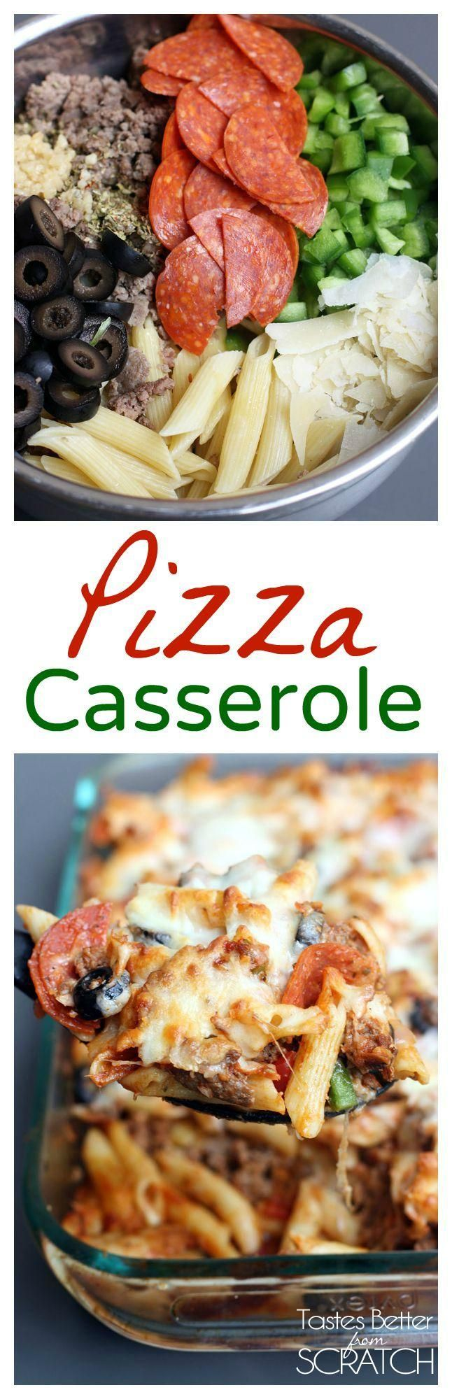 One of my husbands all time FAVORITE meals is this Pizza Casserole! Recipe from TastesBetterFromScratch.com