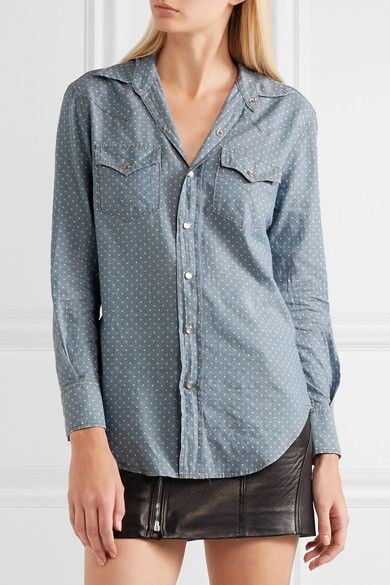 Saint Laurent - Polka-dot Cotton-chambray Shirt - Light denim -