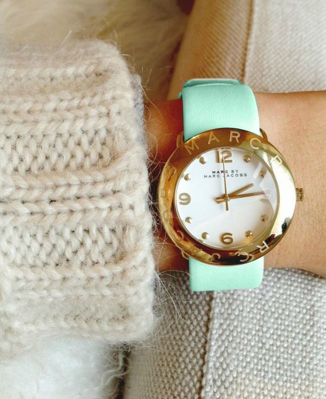 mint green leather marc by marc jacobs watch.
